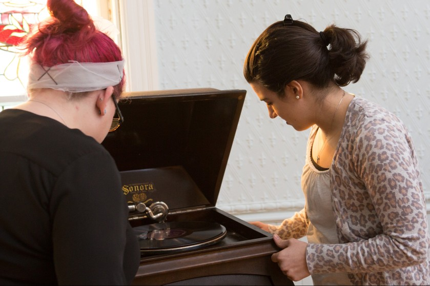 History Graduate Students working on this year's SWAT project at the Milton Historic Society.  Students in photos:  Meg Hutchins (pink hair) and Ashley Giordana (animal print sweater)